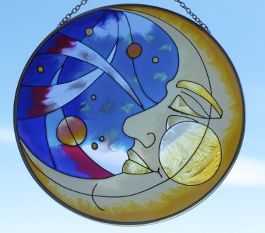 Joan Baker Designs Moon Sun Catcher Stained Glass Window Hanging