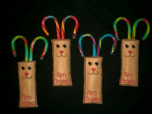 4 PC. Reindeer Candy Cane Holders
