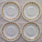 Set of 4 Vintage Corelle Gold Butterfly Saucers/Plates