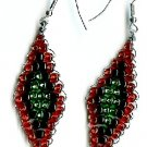 Red, Black and Green Diamond Earrings