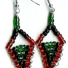 Red, Black and Green Triangle Earrings