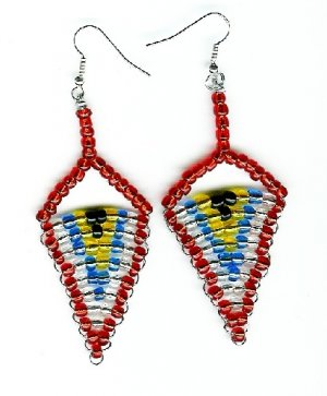 Red, Black , Blue, Yellow and White Earrings