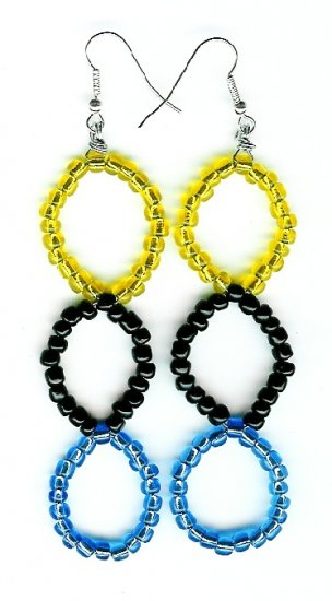 Blue, Black and Yellow Large Triple Circle Earrings
