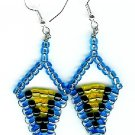Blue, Black and Yellow Triangle Earrings