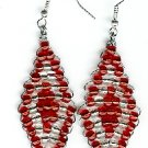 Red and White Diamond Earrings