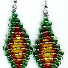 Green, Red and Yellow Diamond Earrings