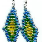 Blue, Green, and Yellow Diamond Earrings