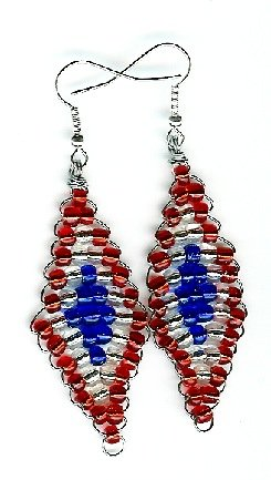 Red, White and Blue Diamond Earrings