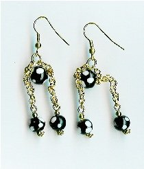 Black polka dot dangle Earrings