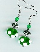 Handcrafted Green Polka Dot Earrings