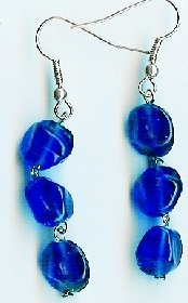 Handmade blue glass dangle earrings earrings