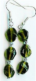Handmade dark green glass dangle earrings earrings
