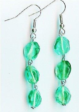 Handmade teal glass dangle earrings