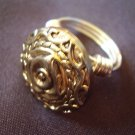 Gold Button Ring