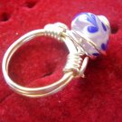 Pink with Blue and White Drips Ring
