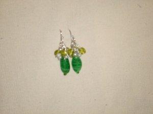 Green Glass Drop Earings