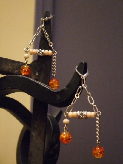 Assymetrical Orange Dangles