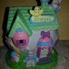 Easter Springtime Village School House Easter Egg Bunnies Detailed Colorful