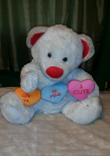 BIG SMILING DANDEE VALENTINE'S DAY CANDY HEART RED WHITE TEDDY BEAR BE MINE LOVE