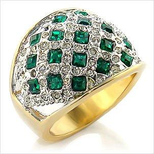 14K YELLOW GOLD EP SIM DIAMOND BAND SZ-6,3/4 CT LC EMERALD Anniversary Ring