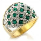14K YELLOW GOLD EP SIM DIAMOND BAND SZ-6,3/4 CT LC EMERALD Anniversary Ring