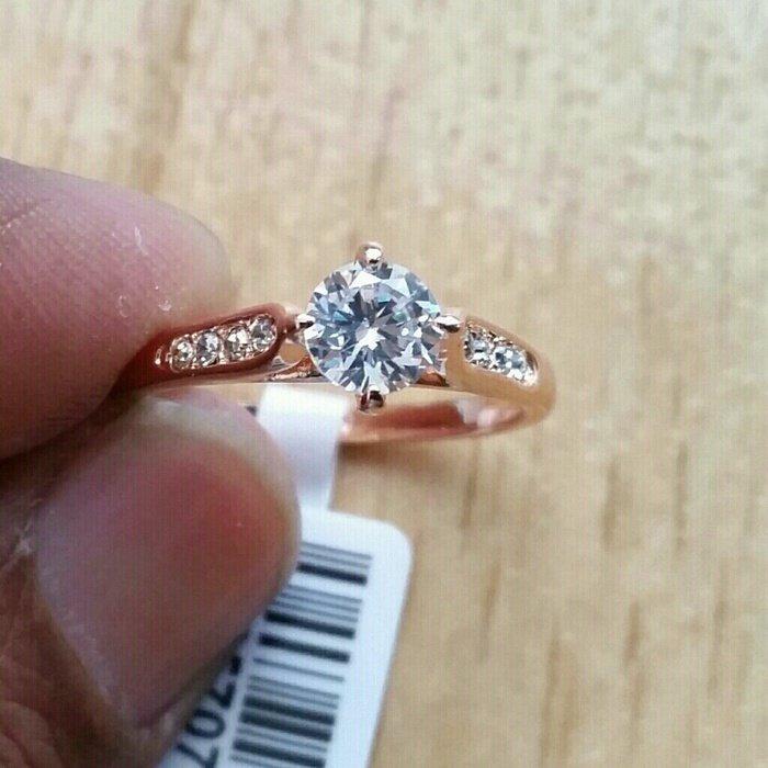 18k Rose Gold Plated Austrian Crystal Stellux Zirconia Engagement Italina Elegant Ring Size 7