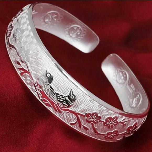 925 Sterling Silver Bangle Stylish Lucky Unisex Bracelet Bangle