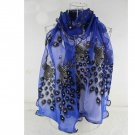 Peacock Flower Design Embroidered Women Long Soft Lace Net Scarves Wrap Shawl Scraf