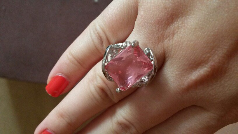 925 sterling silver pink stone engagement ring size 8,9