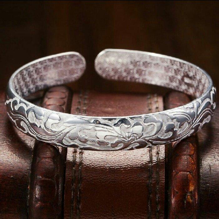 925 Silver Flower Design Unisex Bracelet Bangle