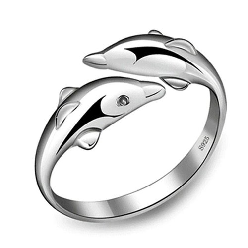925 Sterling Silver Charming Double Dolphins Adjustable Ring