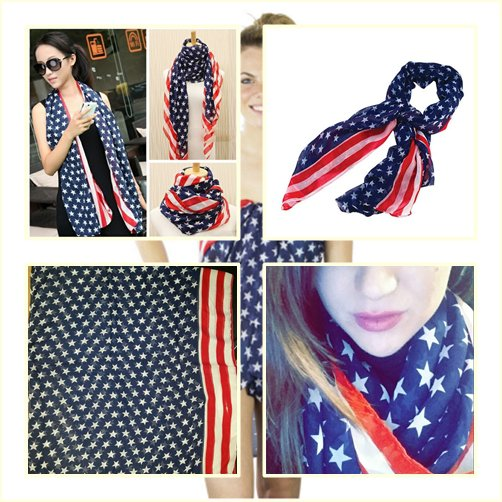 American Flag Scarf Infinity Women Girl USA Flag Patriotic Theme Scarves