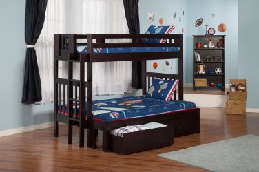 Cascade Twin over Full Bunk Bed with Drawers by Atlantic