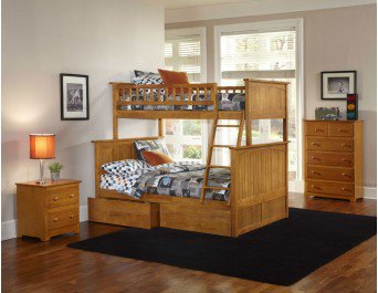 Nantucket Twin over Full Bunk Bed with Under-Bed storage Drawers in Caramel Latte by Atlantic