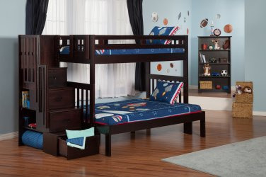 Cascade Twin over Full Staircase Bunk Bed by Atlantic