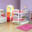 Richmond Twin over Twin White Bunk Bed with Raised Panel Trundle by Atlantic