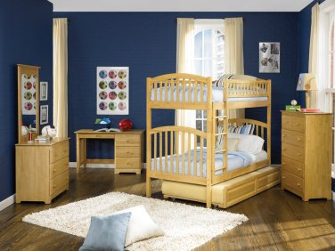 Richmond Twin over Twin Natural Maple Bunk Bed with Raised Panel Trundle by Atlantic