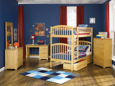 Richmond Twin over Twin Natural Maple Bunk Bed with Raised Panel Drawers by Atlantic
