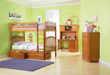 Richmond Twin over Twin Caramel Latte Bunk Bed with Raised Panel Drawers by Atlantic