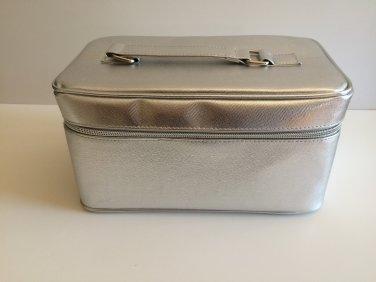 Clinique Silver Vanity Case Make up Bag Top Handle & Double Zipper