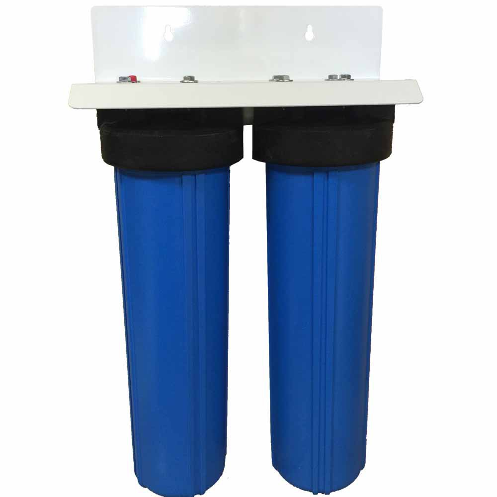 """20"""""""" 2-stage Big Blue Whole House Filter with Bone Char Carbon - Removes or Reduces Fluoride, Arseni"""