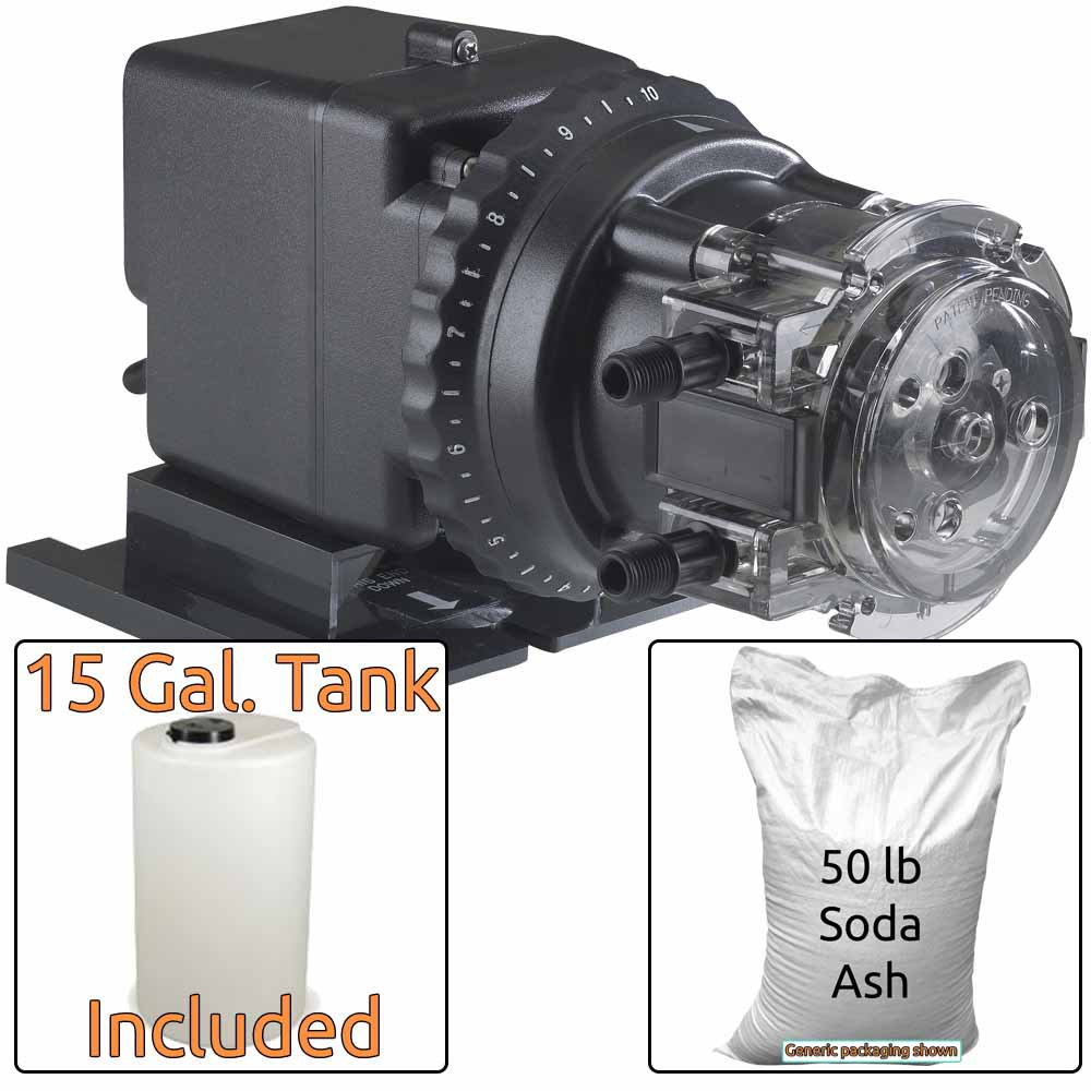 Soda Ash Injection System for Acidic Water - Includes Stenner 85MHP17 Injection Pump & 15 Gal. Solut