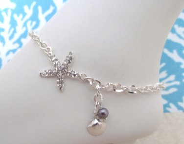 Anklet Rhinestone Starfish Silverplated, Tropical Anklet, Sea Shell Anklet, Wedding Anklet