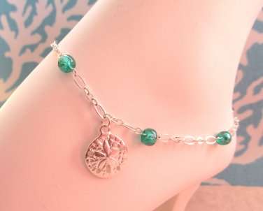 Sand Dollar Anklet Sea Green Beaded Silver Plated, Sea Shell Anklet, Beach Anklet