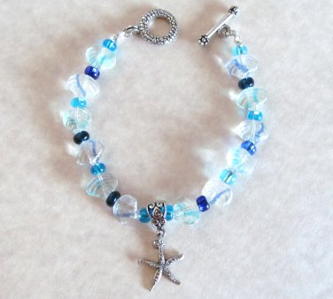 Bracelet Blue Glass Clamshell & Silver Starfish, Sea Life Bracelet, Tropical Bracelet