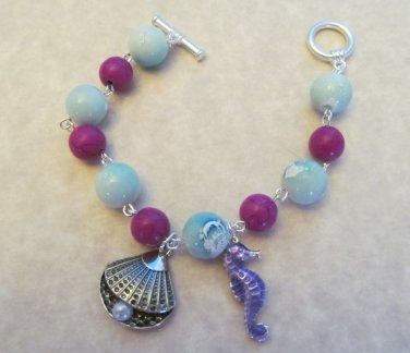 Sea Shell Bracelet Blue & Purple Beaded Bracelet, Seahorse Bracelet, Beach Bracelet