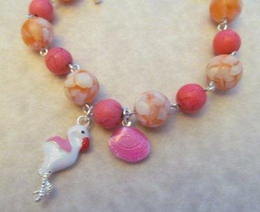 Flamingo Bracelet Orange & Pink Beaded, Tropical Bird Bracelet, Beach Bracelet