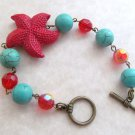 Starfish Bracelet Turquoise & Red Beaded, Tropical, Sea Shell Bracelet, Beach Bracelet