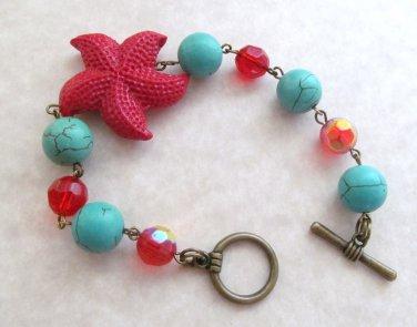 Starfish Bracelet Turquoise & Red Beaded, Tropical, Sea Shell Bracelet, Beach Bracelet