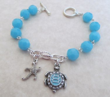 Sea Turtle Bracelet Blue Beaded, Sea Shell Bracelet, Starfish Bracelet, Beach Bracelet